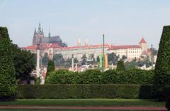 Prague castle -  view from Rudolfinum - stock photo