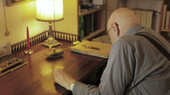 senior troubled man is counting his little savings: money, poor, hardship, aged - stock footage