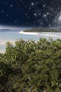 Starry Night in the Whitsunday Archipelago, Australia Stock Photos