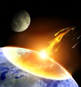 Collision of an asteroid with Earth - stock illustration
