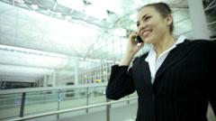 Caucasian European Businesswoman Airport Global Travel Tablet Communication - stock footage