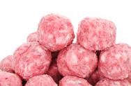Stock Photo of raw meatballs