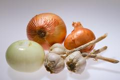 Garlic and onion isolated Stock Photos