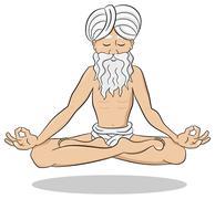 Stock Illustration of floating meditating yogi