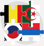Belgian, algerian, russian and south korean flags in puzzle isolated on white Stock Illustration