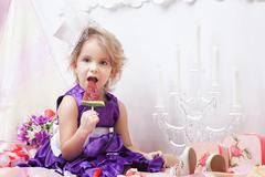 Cute elegant girly posing with watermelon candy - stock photo