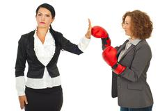 Business woman refuse fight - stock photo