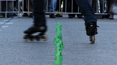Slow Motion Street Life open air street festival Roller Skating Germany Europe Stock Footage