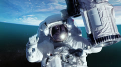 Stock Video Footage of Astronaut in outer space against the planet earth. Close-up.