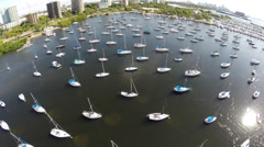Aerial video Coconut Grove sail club Stock Footage