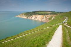 Coast path Alum Bay Isle of Wight by the Needles tourist attraction Stock Photos