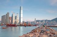 Hong kong and breakwater Stock Photos