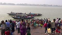 Hoogly river in Kolkata and boats near Dakshineswar Kali temple,Kolkata Stock Footage