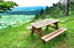 Picnic area in mountains - stock photo