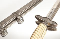 World war knife and engraving on isolated white background Stock Photos