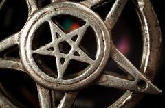 Pentagram with reflection macro shot Stock Photos