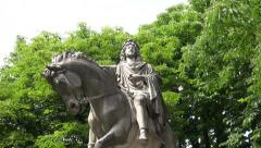 King of France statue in Paris park Stock Footage