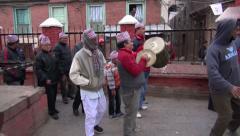People group celebrating in Katmandu street. Wedding festival fragment, Nepal Stock Footage