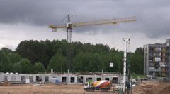 New house building work place in Vilnius Stock Footage