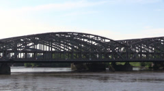 Railway bridge across river Elba in Hamburg Stock Footage