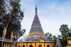 The stainless steel pagoda - phra maha thad chadi tri pob tri mongkol in song Stock Photos