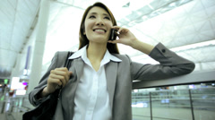 Asian Chinese Businesswoman Airport Global Travel Smart Phone Communication - stock footage