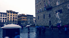 Florence Signoria square under the rain: people, monuments, Tuscany Stock Footage