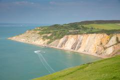 Stock Photo of Alum Bay Isle of Wight by the Needles tourist attraction