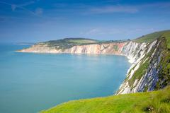 Coast view Alum Bay Isle of Wight by the Needles tourist attraction Stock Photos