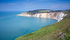 Alum Bay Isle of Wight by the Needles tourist attraction Stock Photos