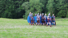 Roman soldier are marching, zooming in Stock Footage