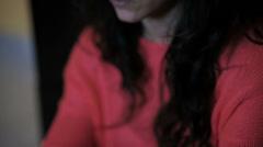 Downcast girl: sadness, depression, discouragement Stock Footage