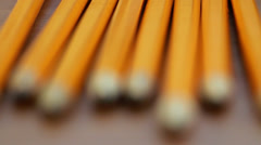 Pencils on Table Pull Focus Stock Footage