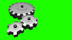 Gears Turning on Chroma Green Background Stock Footage