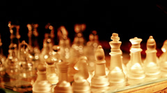 moving chess pieces on the chessboard: glass, finger, hand, move, play - stock footage