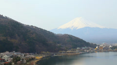 Mt.Fuji view from Kawaguchiko Lake Stock Footage