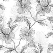 Seamless pattern with vintage cornflowers for invitations, cards, scrapbooking Stock Illustration