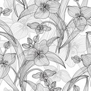 seamless pattern with vintage lilies for invitations, cards, scrapbooking - stock illustration
