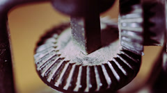 Old mechanism gears movement: gearwheel,  operate, grinding, turning, close up Stock Footage