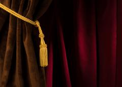Red and brown theatre curtain Stock Photos