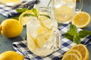 Stock Photo of homemade refreshing yellow lemonade