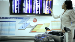 City Airport Departure Asian Chinese Business Finance Woman Stock Footage
