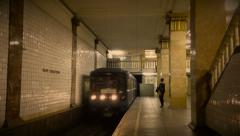 Retro styled Park Kultury Moscow Metro station Stock Footage