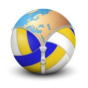 Planet Earth inside volleyball ball Stock Illustration
