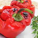 Stock Photo of stuffed red bell peppers