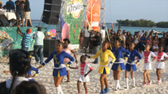 Caribbean carnival at the beach Stock Footage