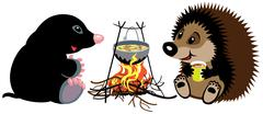 mole and hedgehog near campfire - stock illustration