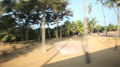 View of Colombo seaside from passing train. Stock Footage