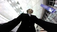 European Caucasian Businesswoman Airport Global Destination Travel Stock Footage