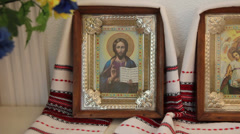 Orthodox icons for blessings Stock Footage